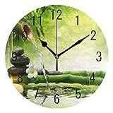 Mnsruu Home Decor Zen Stone Flower Bamboo Round Acrílico Reloj de pared silencioso para sala de...