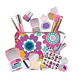 CTGVH Juego de 19 piezas de maquillaje para niños para niñas lavable juego de juguetes de maquillaje con bolsa de maquillaje real cosmética princesa Set de maquillaje para niños