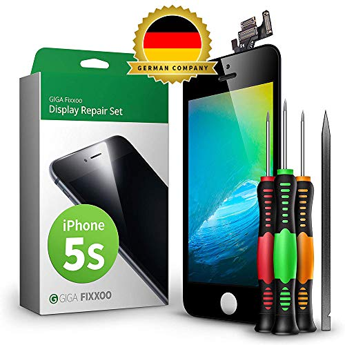 GIGA Fixxoo Display Set kompatibel mit iPhone 5s, Reparaturset Komplett Schwarz, Ersatz Bildschirm, Retina LCD Glas mit Touchscreen, inkl. integrierte Frontkamera & Werkzeug