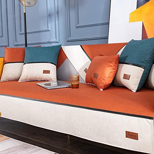 Homeen Funda impermeable para sofá de perro gato, piel sintética, fundas antideslizantes para sofá, funda protectora antiincrustante para mascotas, 30 x 50 cm, color naranja