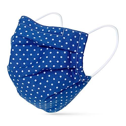 tanzmuster ® Behelfsmaske waschbar für Erwachsene - 100% Baumwolle OEKO-TEX 100 mit Nasenbügel und Filtertasche - Community Maske handmade und wiederverwendbar 2-lagig Polka-Dots blau M/L