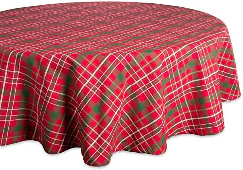DII Tartan Holly Plaid Round Tablecloth 100 Cotton with 1 2 Hem for Holiday Family Gatherings product image