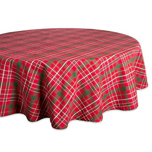 "DII Tartan Holly Plaid Round Tablecloth, 100% Cotton with 1/2"" Hem for Holiday, Family Gatherings, & Christmas Dinner (70"" - Seats 4 to 6)"