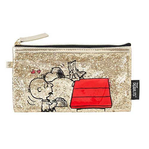 Peanuts Snoopy PVC Gold Glitter Pencil Case,Cosmetic Bag, Pen Holder [ P-13807 ]