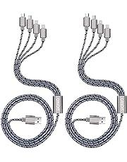 【2本セット】SIQIWO 4in1 充電ケーブル usbケーブル usb type c ケーブル/マイクロUSB ケーブル/i充電ケーブル一本四役Android 同時給電可能 3.0A急速充電 各種対応16ヶ月品質保証 1.2M