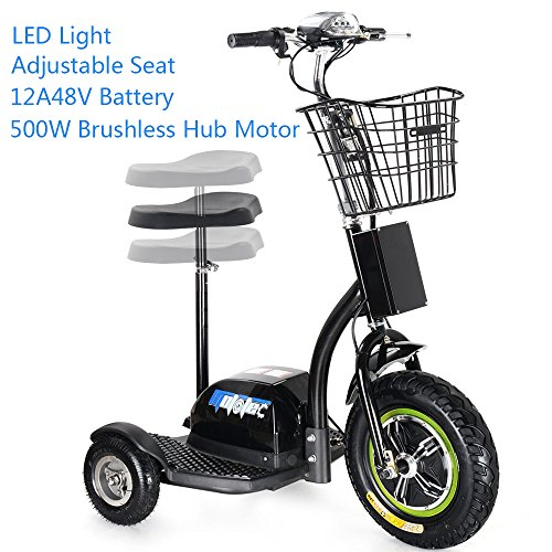 SAY YEAH Electric Bike 500W Brushless Hub Motor Scooter,3 Wheel Sit/Stand Tricycle, Adult Mobility Scooters, LED Light and Blasket,Man and Womann Scooter