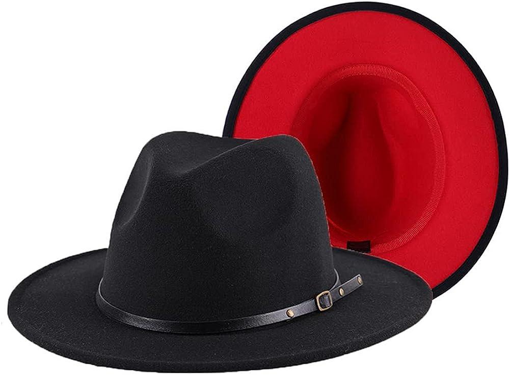 Classic Fedora Hat Wide Brim Two Tone Felt Panama Hat with Belt Buckle for Women Men Black