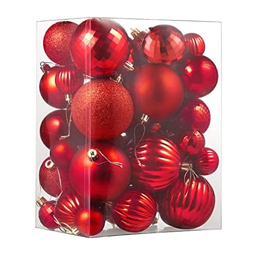 CACOE Palle di Natale Set 50 Pezzi Rosso- Palle dell'albero di Natale Decorazioni dell'albero per Natale Palle Decorative Glitterate per Appendere le Decorazioni Delle Porte Decorazioni Festa
