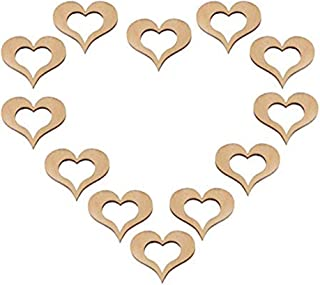 50pcs Rustic Hollow Wooden Love Hearts Wood Slices Crafts for Wedding Table Scatter Decoration,Wood Table Confetti, Embellishments,Table Decor (50)