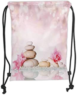 Drawstring Backpacks Bags,Spa,Bohemian Zen Stones And Soft Petals Therapy Tradition Chakra Yoga Asian Picture,Light Pink Peach Soft Satin,5 Liter Capacity,Adjustable String Closure