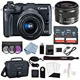 Canon EOS M6 Digital Camera (Black) with EF-M 15–45mm f/3.5–6.3 is STM Lens + Advanced Accessory Bundle - Includes to Get Started