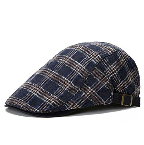 Nanxson Herren Baumwolle Schirmmütze Kariert Flat Cap Hut Einstellbar Newsboy Cap MZM0029 (M, Dunkelblau