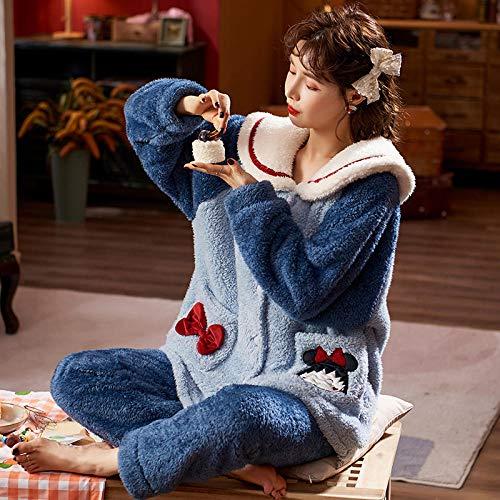 Cxypeng Damen Pyjama-Set aus Flanell,Niedliche Winterkorallensamtpyjamas für Frauen,...