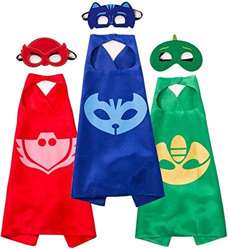 XShine PJ Masks Umhang Cartoon Superheld Kinder Capes Kostüm, 3 Stück Masks und 3 Stück Mantel Kostüm, Rollenspiel Party Supplies, Catboy, Owlette, Gekko