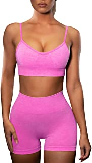 FYMNSI Women Yoga Outfits 2 Piece Workout Set Seamless High Waist Exercise Shorts Pants with Sport Bra Tracksuit Gym Clothes
