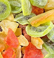 TROPICAL DRIED FRUIT MIX: Great mixture of dried fruits for your sweet tooth! LOVELY COMBO: Includes Kiwi slices, Mango slices, Papaya chunks, Pineapple tidbits and Cantaloupe slices. RECIPE IDEAS: Add them to your desserts, trail mixes, granola's, a...