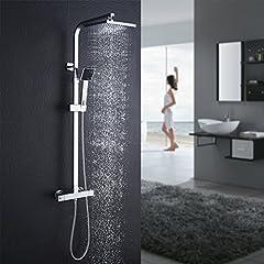 Système de douche Auralum avec mélangeur thermostat, duscharmatur thermostat avec douche à pluie et douche à main, système de douche anti-brûlure