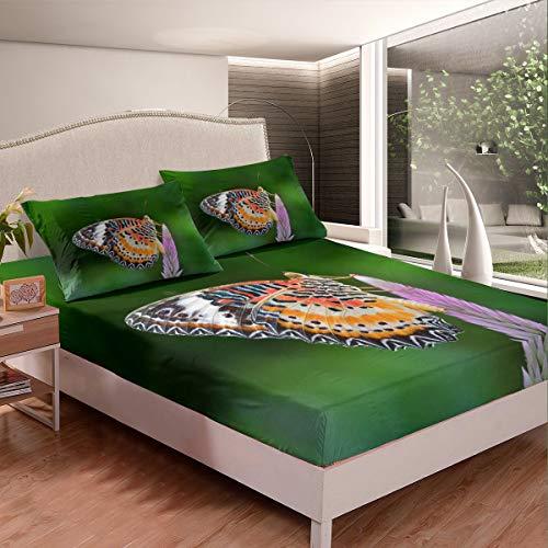 Loussiesd Juego de cama con diseño de mariposas para niñas y niños, con estampado de mariposas, juego de sábanas decorativas con temática de animales 3D, color verde, tamaño individual, 2 unidades