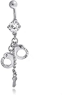 Handcuffs and Key Hot Wife Secret Shades CZ Crystal Dangle Bar and Ball Style Navel Belly Ring Surgical Steel 14G