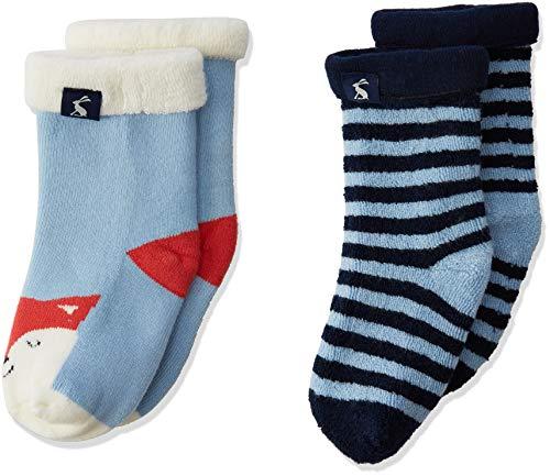 Joules Baby-Jungen Terry Socken, Mehrfarbig (Sky Blue Fox), XL