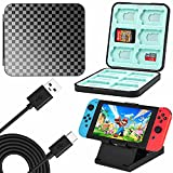 Game Card Case for Nintendo Switch - GUTIAL 4 in 1 Pack Game Card Holder for Nintendo Switch with Charging Cable and Play Stand Thumb Grips