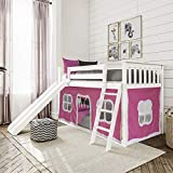 Max & Lily Low Bunk Bed with Slide and Pink Curtains, Twin, White