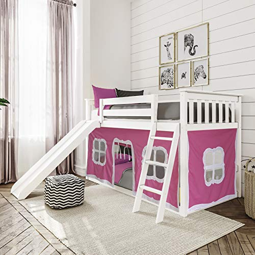 Max & Lily Low Bunk Bed with Slide and Pink Curtains