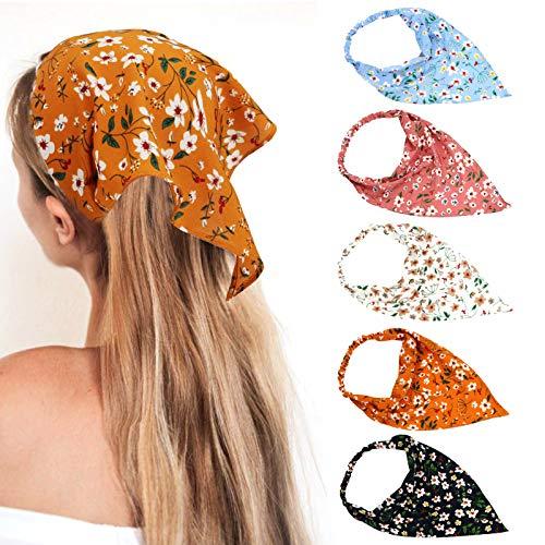 5 PCS Floral Hair Scarf, Soft Chiffon Headbands Elastic Hair Bandanas, Boho Printed Hair Scarves for Fashion Women(Not fall off)