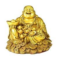 笑う仏像中国の風水装飾金色の真鍮座る幸運のための幸せな仏像