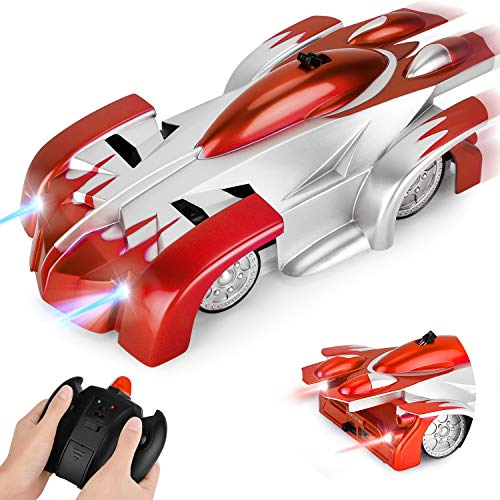 GotechoD Ferngesteuertes Auto mit Fernbedienung für Kinder Kleinkind 3 Jahre, Ferngesteuertes Spielzeugautos auf Boden/Wände/Schränke/Fenster (Rot)