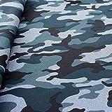 STOFFKONTOR Softshell Fleece Stoff Camouflage Meterware