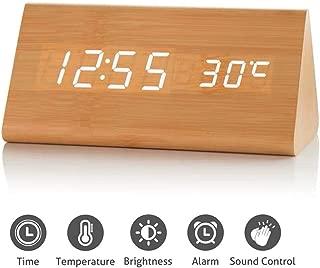 GLOREEY Wooden Wood Clock, 2019 New Version LED Alarm Digital Desk Clock 3 Levels Adjustable Brightness, 3 Groups of Alarm Time, Displays Time Date Temperature - Bamboo (White Light)