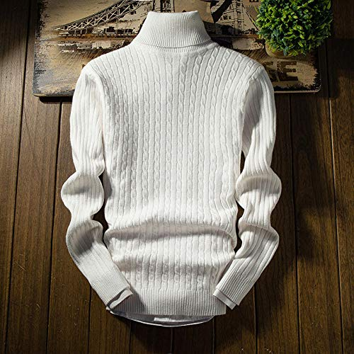 JFHGNJ Heren Coltrui Winter Mode Gebreide Coltrui Heren Winter Coltrui Man Pullover-Witte Stijl 2_XL