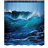 QJXX Blauer Ozean Natur Landschaft Druck Polyester Stoff Duschvorhang 3D Wirkung Anti-Schimmel Anti-Bakteriell Umweltfre&lich Waschbar,180 * 180Cm