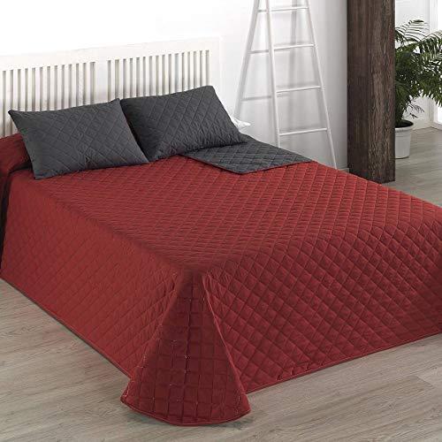 Camatex - Colcha bouti ROMBO - Cama 90 cm (180x270) - Color Rojo/Gris