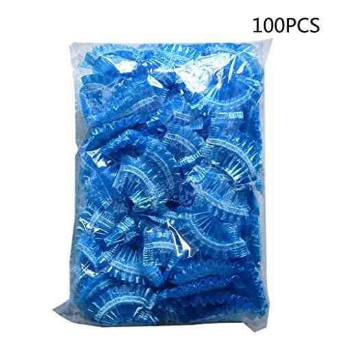 ZOOMY 100 Piezas de plástico desechable Engrosado Protector de Oreja a Prueba de Agua Cap Cap Salon Peluquería Dye Shield Orejeras Herramienta de Ducha - Azul