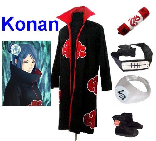 Sunkee Japanische Anime Naruto Cosplay Konan Set -- Akatsuki Mantel Umhang Größe M + Federmäppchen + Stirnband+ Konan Ringe + Ninja Schuhe