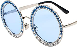 Fashion Fashion Ocean Film Multicolor Glasses Street Beat Sunglasses New Round Diamond Sunglasses Retro (Color : Blue)
