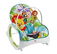 Portable baby seat and rocking chair for use from infant to toddler (up to 40 lb/18 kg) Two recline positions and removable toy bar with two bat-at toys Calming vibrations help soothe your baby Fold-out kickstand for stationary seating Removable, mac...