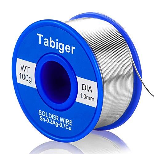 Alambre de soldadura sin plomo,0.8mm Hilo de estaño para soldar Con núcleo de colofonia cable(100g 97Sn 2Colofonia 0,3Ag 0,7Cu) (1 Set(1.0mm))