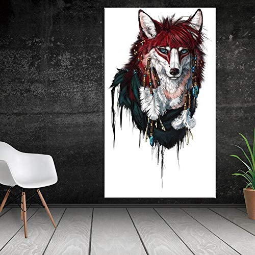 N / A Oil Painting Wolf Animal Oil Painting HD Poster Canvas Printed Poster for Living Room and Family Frameless 40x80cm