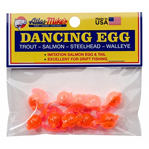 Atlas Mike's Bag of Dancing Salmon Fishing Bait Eggs (Pack of 10), Orange