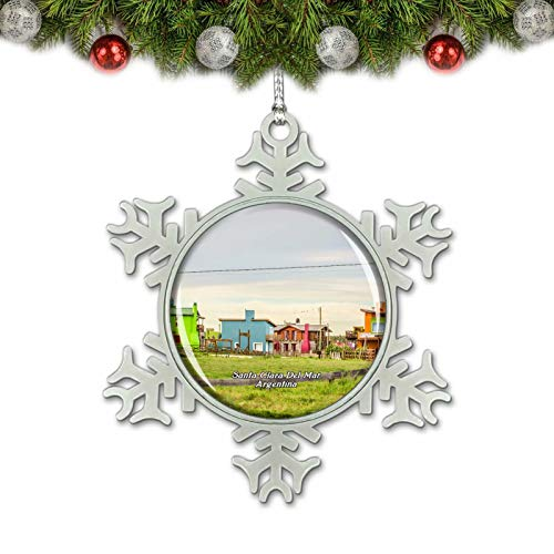Umsufa Santa Clara Del Mar Houses Argentina Christmas Ornament Tree Decoration Crystal Metal Souvenir Gift