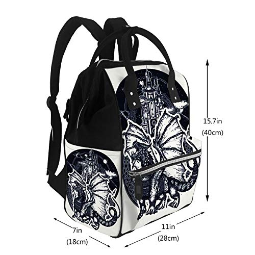 Baby Care Diaper Backpack Dragon and Castle Symbol Force Fantasy Fairy Tale Strong with Celtic Ornament Diaper Bags Backpack
