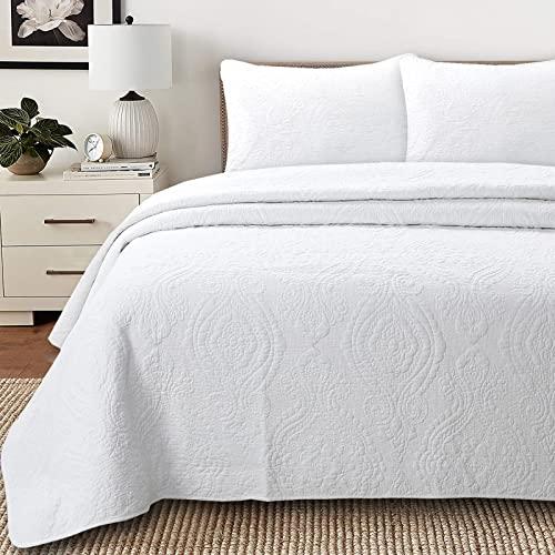 Cozy Line Home Fashions Bailee Matelasse-Medaillon, 100 prozent Baumwolle, wendbar, luxuriös, schick, Tagesdecke, für Schlafzimmer/Gästezimmer (Medaillon, Weiß, Queen-Size-Bett), 3-teilig