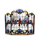Chloe Lighting Glass Gathering Birds Design 3pcs Folding Fireplace 40' Wide Aves Tiffany-glassFireplace Screen, One Size