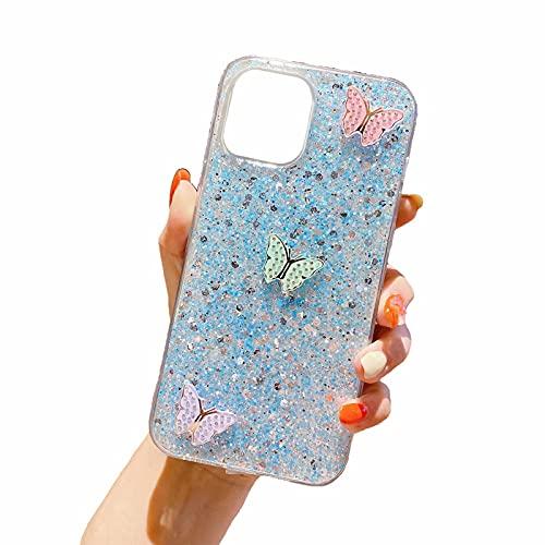 Miagon Cover Glitter per iPhone 6 Plus/6S Plus,Custodia Flessibile Silicone con Farfalla Design Morbido TPU Protettiva AntiGraffio Case