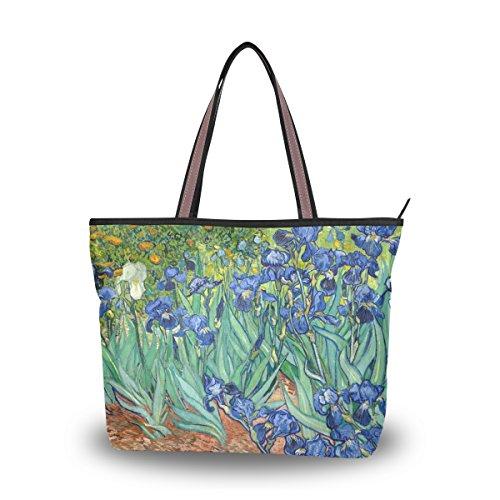 Tote Bag Van Gogh Irises Flower Shoulder Handbag Travel Beach Bags With Zipper