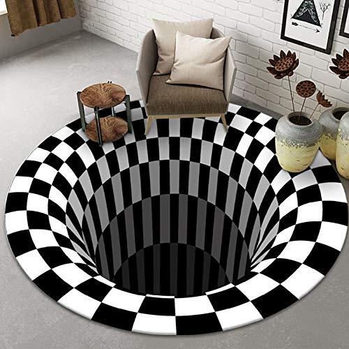 NOBCE Alfombra Redonda de Payaso Trampa Alfombra Visual Sala de Estar Dormitorio Alfombra de Mesa de Centro Alfombra de ilusión estéreo geométrica 3D 120X120CM