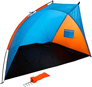 comprar comparacion Aktive 62137 Tienda paravientos Beach, 200 x 125 x 120 cm, Azul y naranja